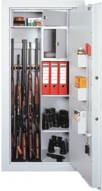 Skříň na zbraně SZ10/5 držáky na 5 zbraní  a police
