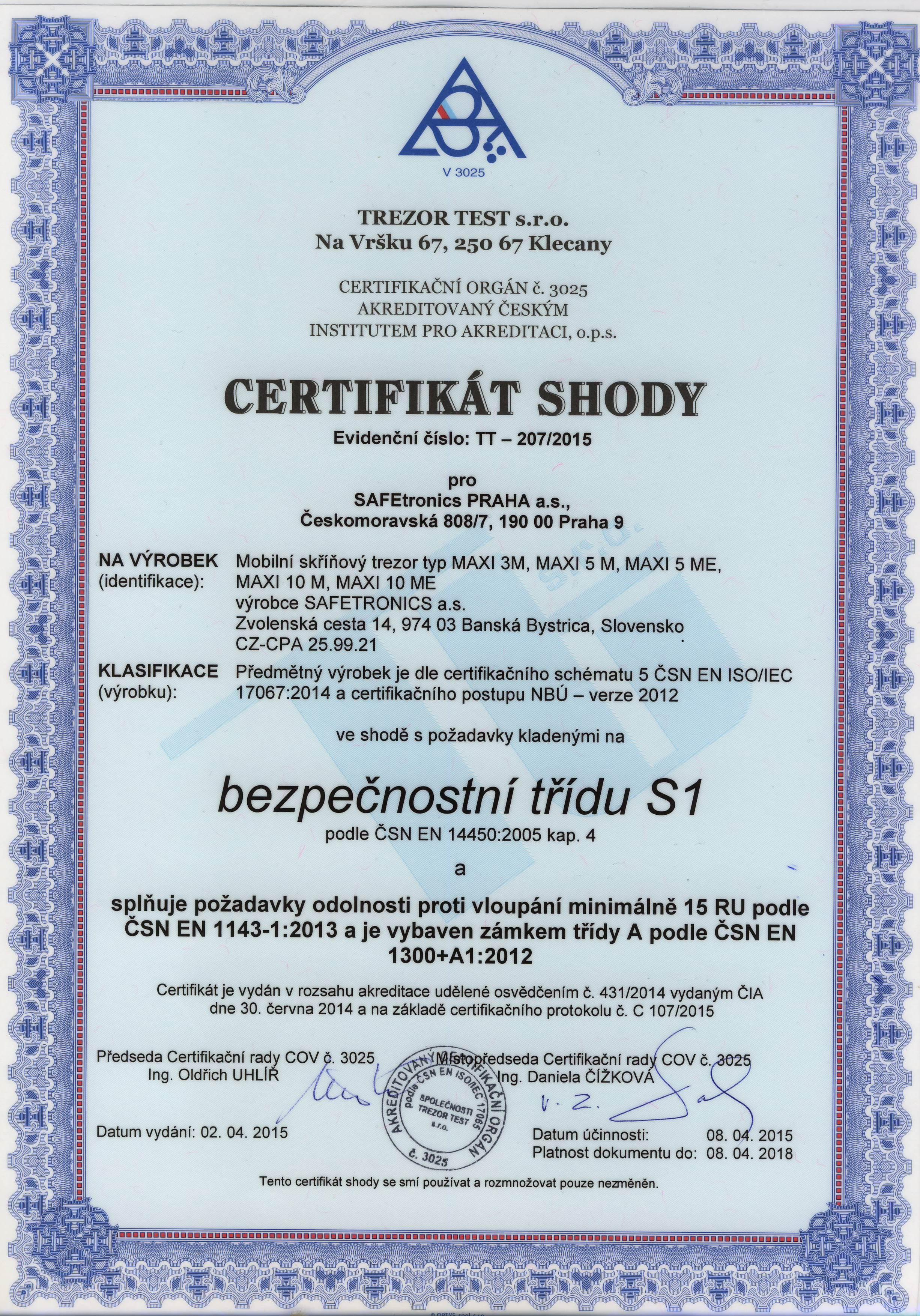 Certifikát skříně na spisy Safetronics