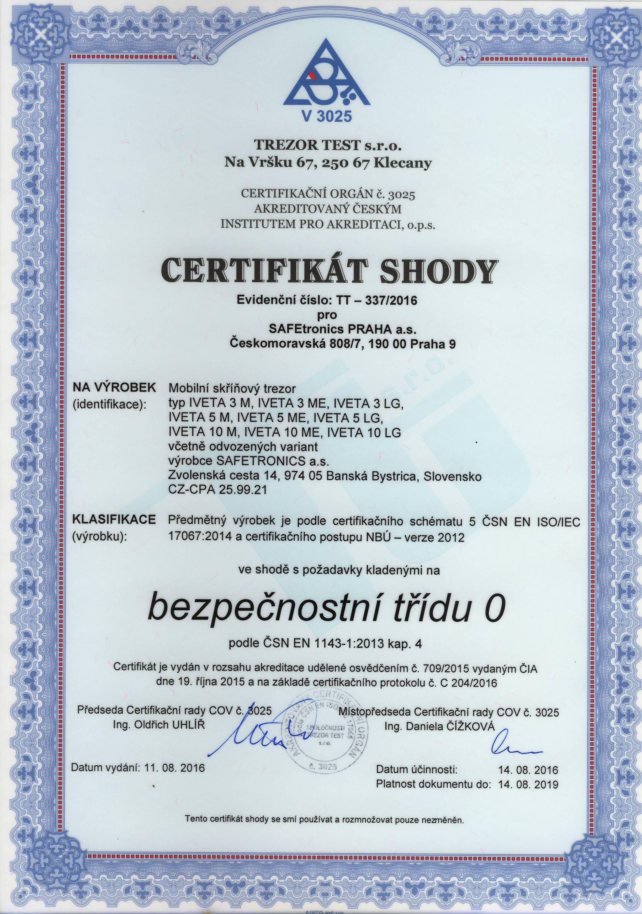 Certifikát trezor IVETA 5PM spis