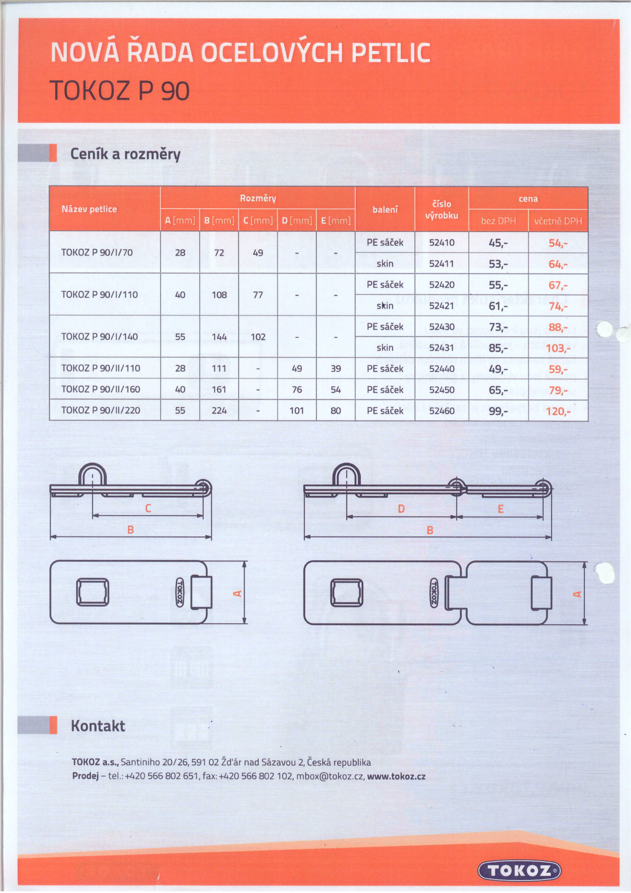 TOKOZ petlice 90 - katalog - rozměry