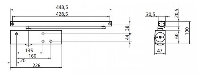 GEZE - technické schéma TS3000