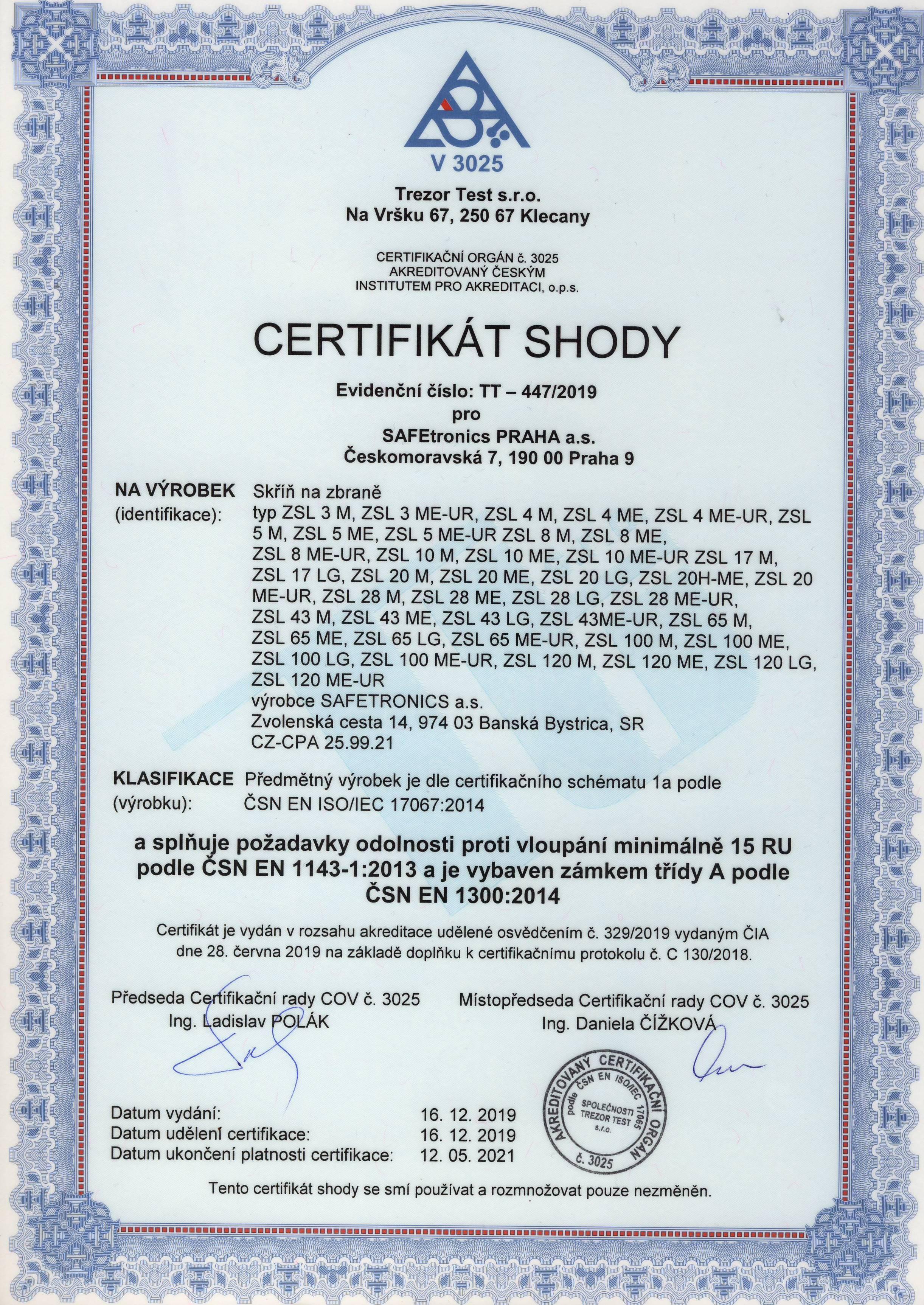 Certifikát SAFETRONICS sejfy ZSL